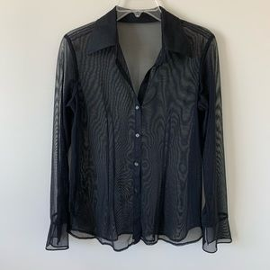 Mesh See Through Transparent Button-up Top Blouse